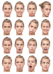 young beautiful blonde girl expression collection isolated on white